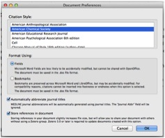 Screenshot of Zotero Document Preferences for Word