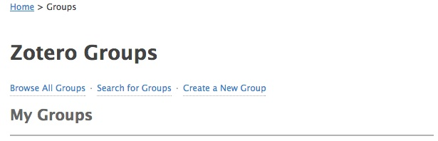 Screenshot of the Zotero Groups website.