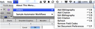 Screenshot of Zotero menu in Word for Macs - Scripts menu