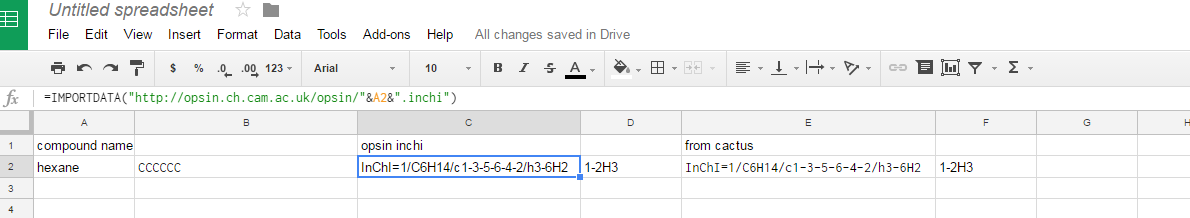 screen capture of inchi in google spreadsheet