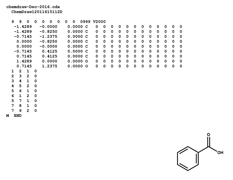MOL file for benzoic acid as generated from ChemDraw